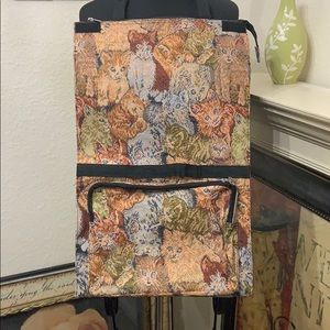 Vintage Cat Tapestry Wheeled Shopper Travel Bag